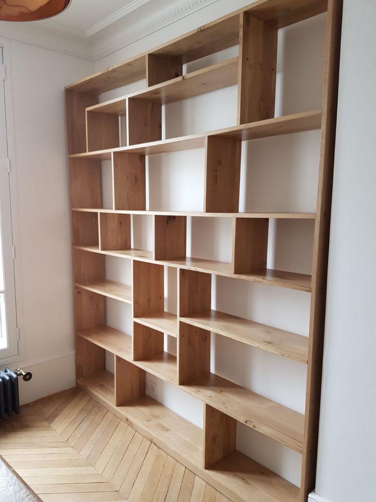 Menuiserie meubles sur mesure appartement maison immobilier paris bibliothèque